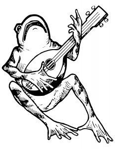 rana tocando instrumento para colorear