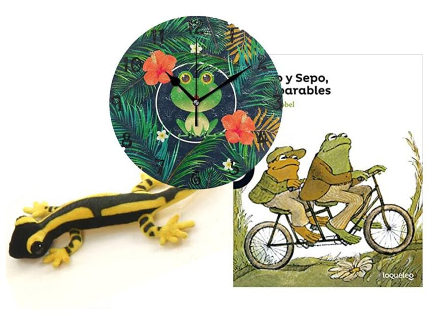 Libros, decoración y juguetes de anfibios.
